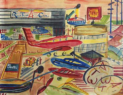 Airliners Painting - Hangars At The Indianapolis Airport by Lynn Palmer