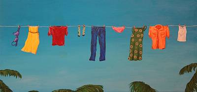 Laundry Painting - Hanging Out To Dry by Jennifer Lynch