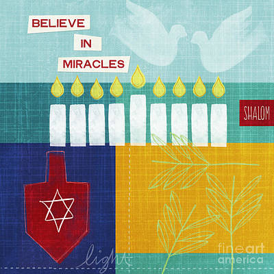 Quilts Painting - Hanukkah Miracles by Linda Woods