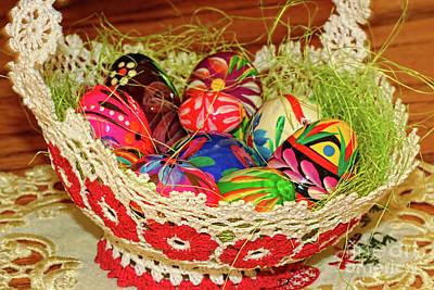 Happy Easter Basket Print by Mariola Bitner