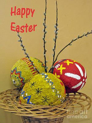 Happy Easter Greeting. Papier-mache Print by Ausra Huntington nee Paulauskaite
