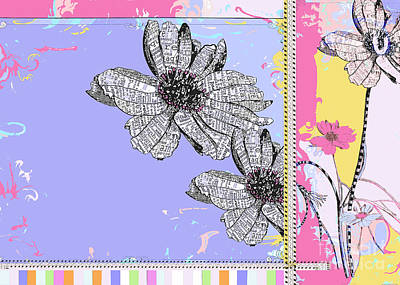 Stationery Licensing Mixed Media - Happy Joyful Flowers Licensing Art by Anahi DeCanio