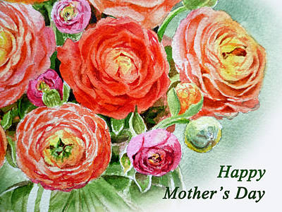 Mother Painting - Happy Mothers Day Card by Irina Sztukowski