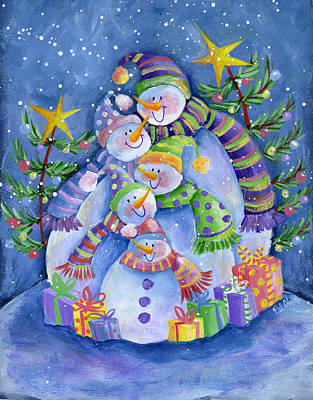 Painting - Happy Snowman Family by Pat Olson