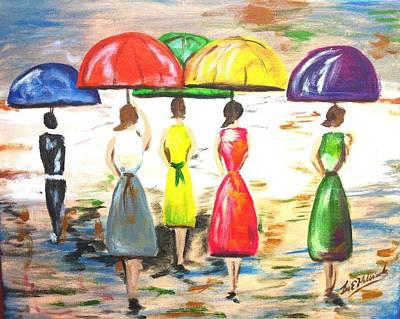 Happy Umbrellas Print by Lee Halbrook