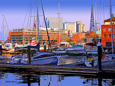 Oriole Digital Art - Harbor Morn by Stephen Younts