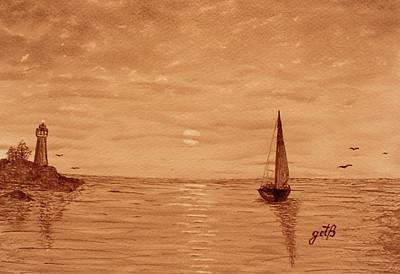 Harbor Sunset Print by Georgeta  Blanaru