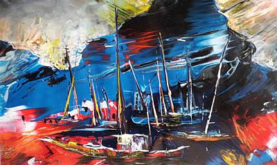 Harbour In Spain Print by Miki De Goodaboom