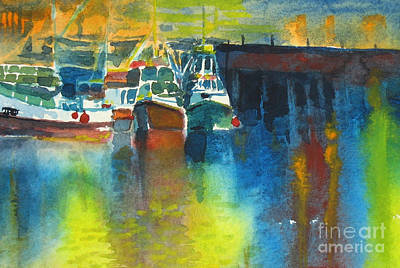 Night Lamp Painting - Harbour Night Lights by Karen A Robinson