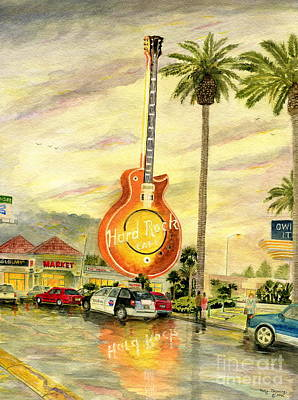 Fine Art Painting - Hard Rock Cafe Las Vegas by Melly Terpening