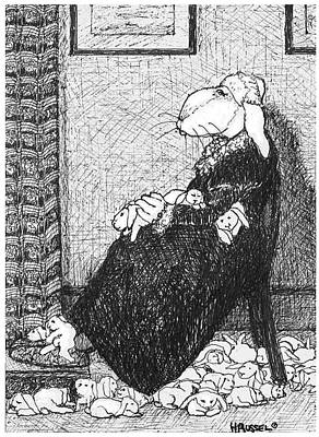 Whistler Drawing - Hare Mother by Herb Russel