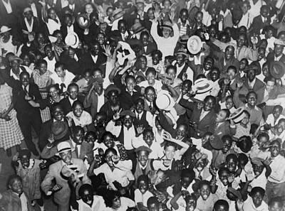 Harlem Crowd Celebrating African Print by Everett