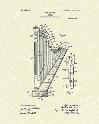 Harp Ekman 1905 Patent Art Print by Prior Art Design