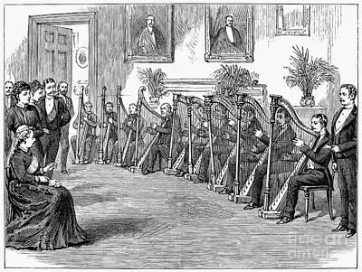 Harp Performance, 1889 Print by Granger