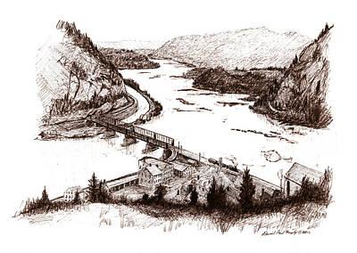 Sepia Ink Drawing - Harper's Ferry by Daniel Paul Murphy