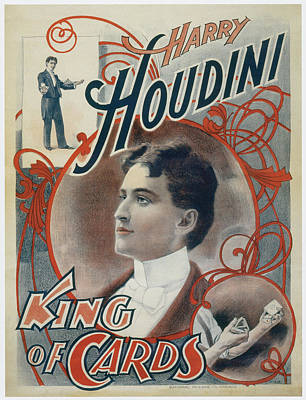 Harry Houdini King Of Cards Print by Unknown