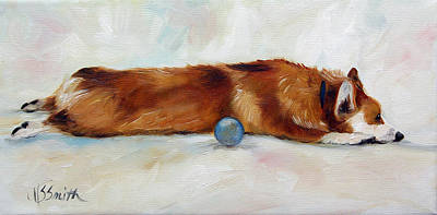 Dog Playing Ball Painting - Harvey's Ball by Mary Sparrow
