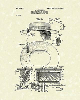 Hat Mirror 1903 Patent Art Print by Prior Art Design