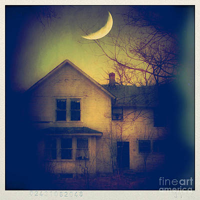 Moonlit Night Photograph - Haunted House by Jill Battaglia