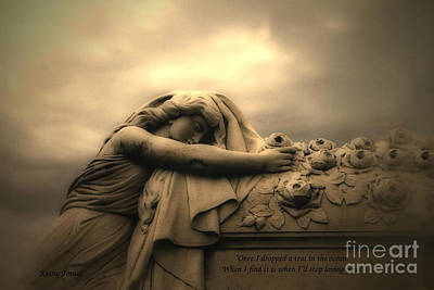 Gothic Dark Photograph - Haunting Cemetery Angel Mourner Rose Casket by Kathy Fornal