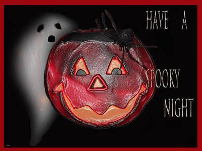 Haunted House Party Mixed Media - Have A Spooky Night by Debra     Vatalaro