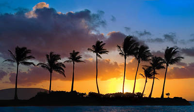 Orange Photograph - Hawaii Sunset Silhouette by Dave Dilli
