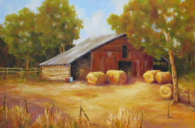 Bales Painting - Hay Bales by Barrett Edwards