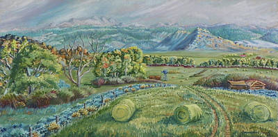 Bales Painting - Haying Time In The Valley by Dawn Senior-Trask