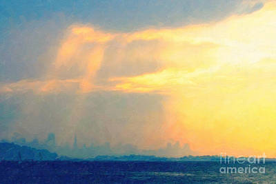Hazy Light Over San Francisco Print by Wingsdomain Art and Photography