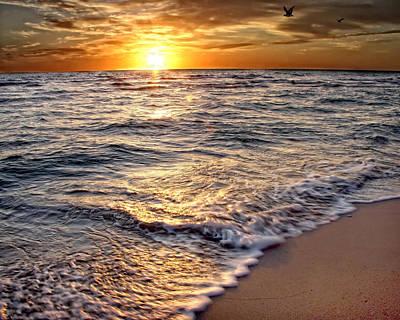 Hdr Beach Sunrise Print by Joe Myeress