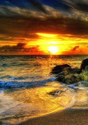 Hdr Blazing Sunrise Print by Joe Myeress