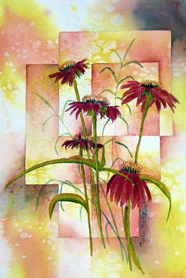 Abstracted Coneflowers Painting - He Loves Me by Terry Honstead