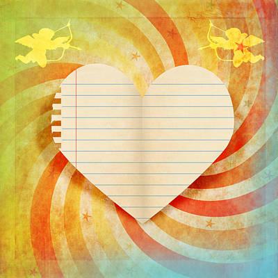 Heart Paper Retro Design Print by Setsiri Silapasuwanchai