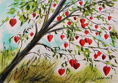Hearts On Trees Drawing - Hearts Grow On Trees by John Williams