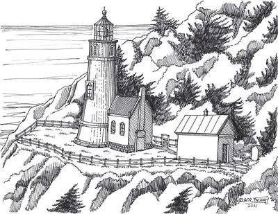 Historic Site Drawing - Heceta Head Oregon by Bill Friday
