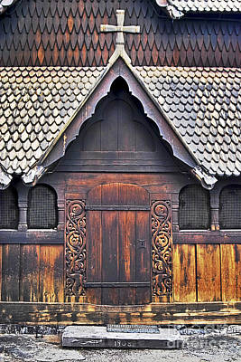 Woodcarving Photograph - Heddal Stave Church Side Entrance by Heiko Koehrer-Wagner