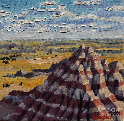Badlands Painting - Heddy Draw by Patricia A Griffin