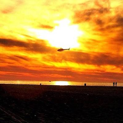 Helicopter Photograph - Helicopter In The Sun #sun #sunset by David Sabat