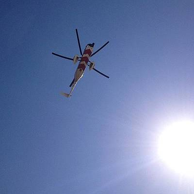Helicopter Photograph - #helicopter #sky #sun #summer #blue by Matt Laity