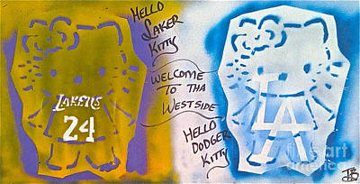 Lakers Painting - Hello La Kitty by Tony B Conscious