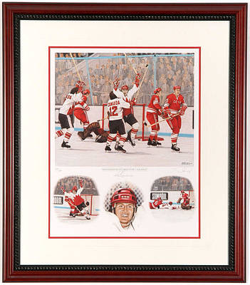 Art Of Hockey Mixed Media - Henderson Scores For Canada Limited Edition by Daniel Parry