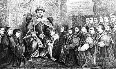 Henry Viii Presenting Charter To Barber Print by Science Source