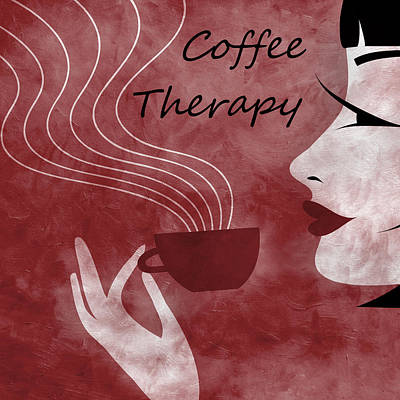 Her Coffee Therapy 2 Print by Angelina Vick