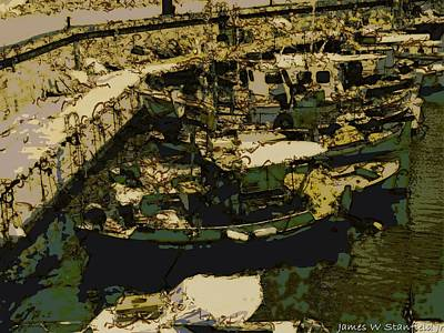 Heraklion Harbor In Historical Lithography Style Print by James Stanfield