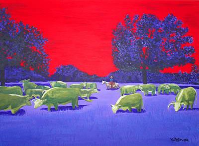 Hereford Herd Print by Randall Weidner
