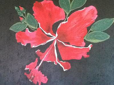 Bloody Mary Painting - Hibiscus - Bloody-mary by Berta Barocio-Sullivan