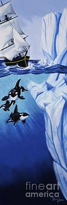 Orca Drawing - Hidden Dangers by Robert Thornton