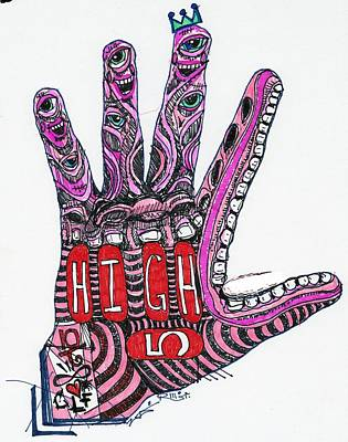 Art Brut Drawing - High 5 Yell by Robert Wolverton Jr