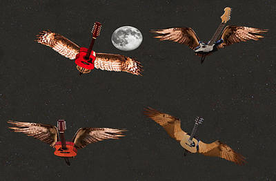Flying Guitars Digital Art - High Flying Bird by Eric Kempson