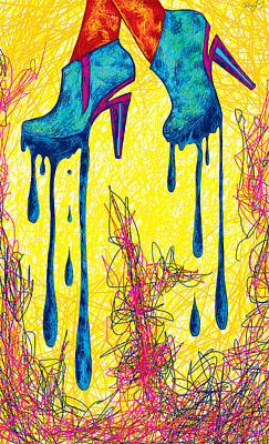 High Heels Abstraction Dripping Print by Pierre Louis